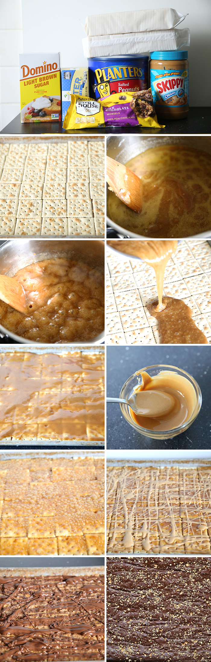 step by step pictures for how to make the best christmas crack soda cracker candy. there are 11 pictures in the collage