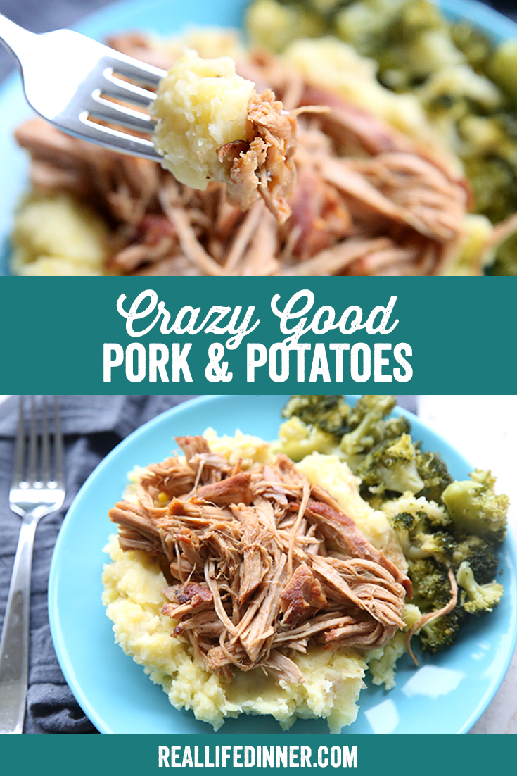 A pinterest collage for crazy good pork and potatoes