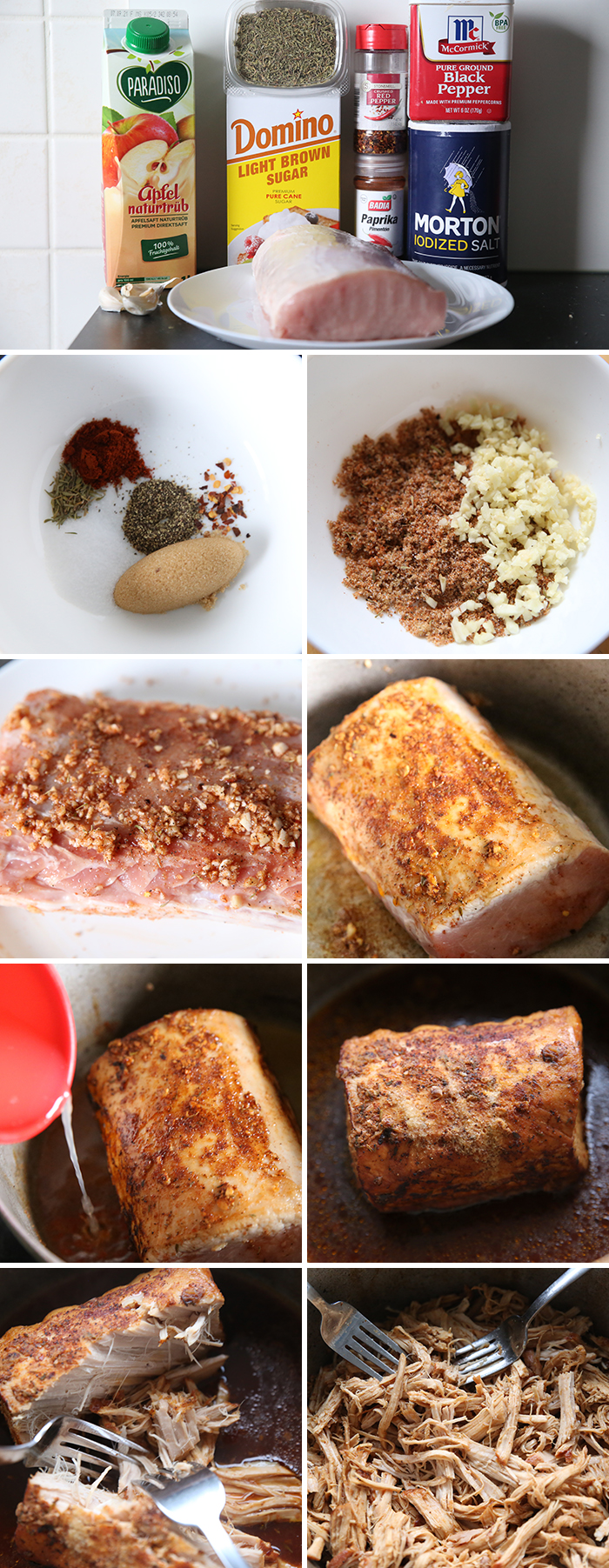 a collage of nine photos showing how to make this crazy good pork and potatoes recipe