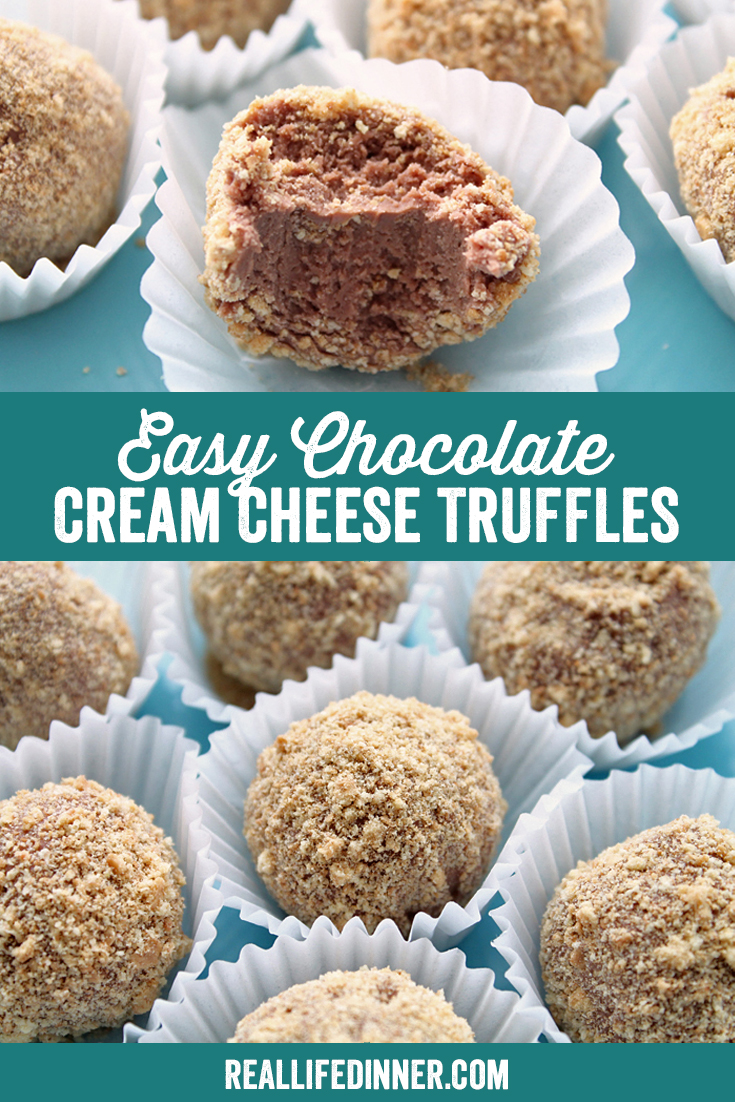 A PInterest collage photo of Easy Chocolate Cream Cheese Truffles. It has two pictures in it.