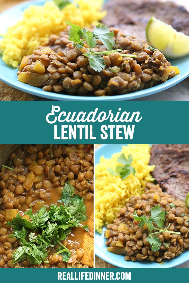 Pinterest Collage for Ecuadorian Lentil Stew