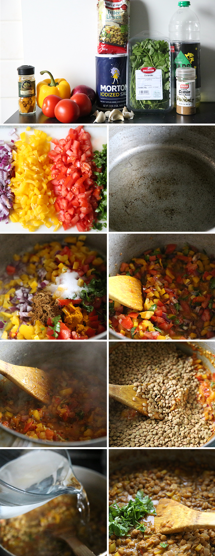 A collage with nine photos showing step by step instructions on how to make Ecuadorian Lentil Stew