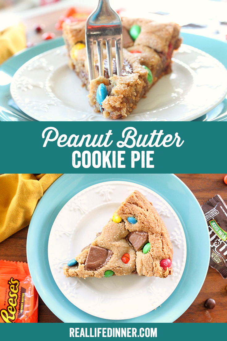 A Pinterest collage photo of Peanut Butter Cookie Pie. It has two pictures in it.