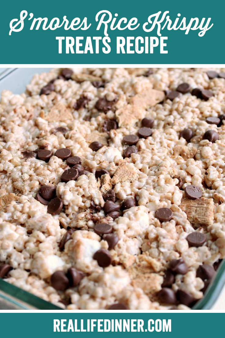 A Pinterest collage photo of S'mores Rice Krispy Treats Recipe. It has one picture in it.