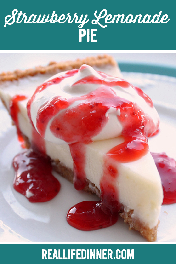 A Pinterest collage photo of Strawberry Lemonade Pie. It has one picture in it.