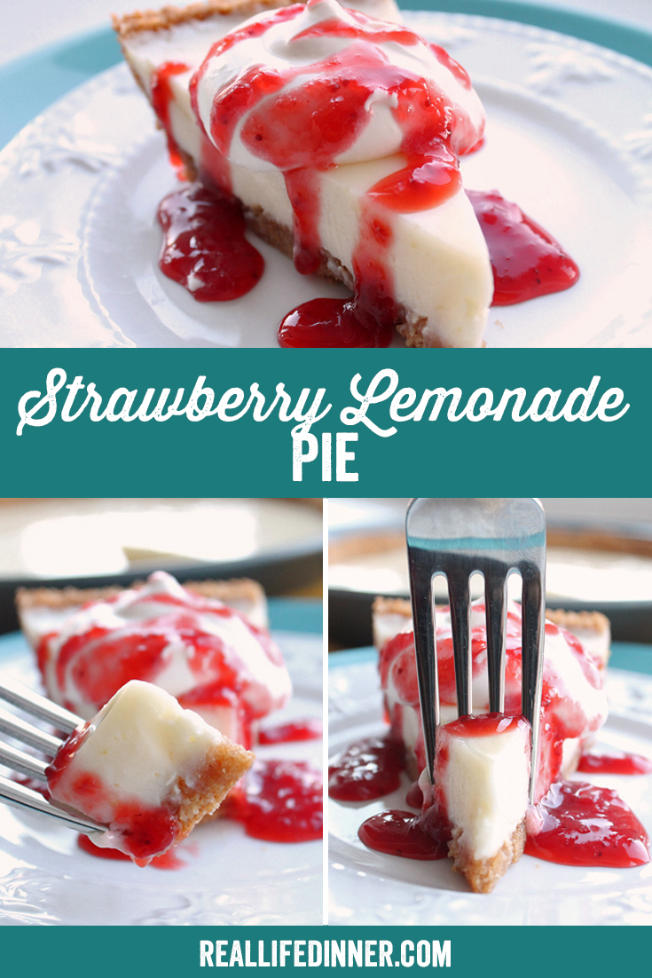 A Pinterest collage photo of Strawberry Lemonade Pie. It has three pictures in it.