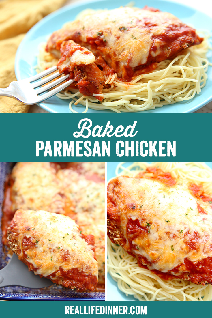 Pinterest collage for baked parmesan chicken