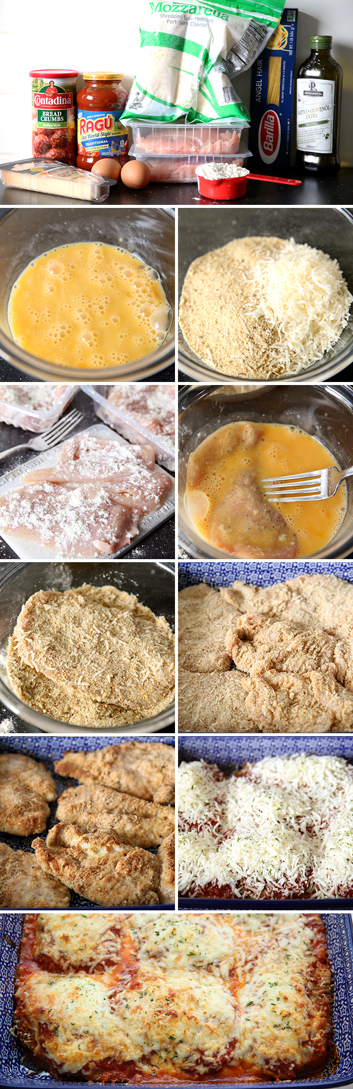 A collage of ten photos showing step by step instructions on how to make baked parmesan chicken