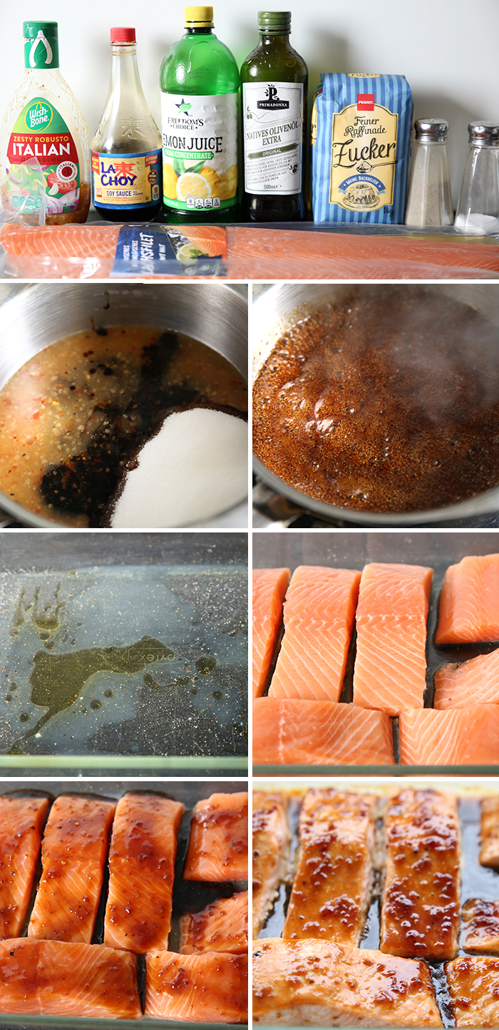 7-picture photo collage of step by step pictures to make Teriyaki Salmon.