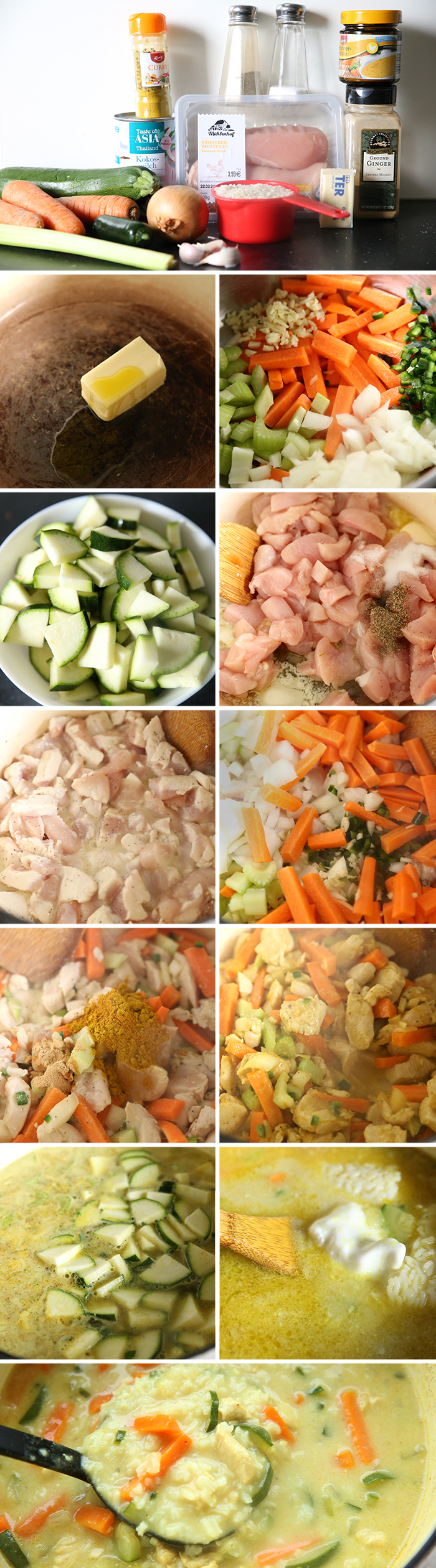12-picture photo collage of step-by-step photos of how to make Chicken Curry and Rice Soup.
