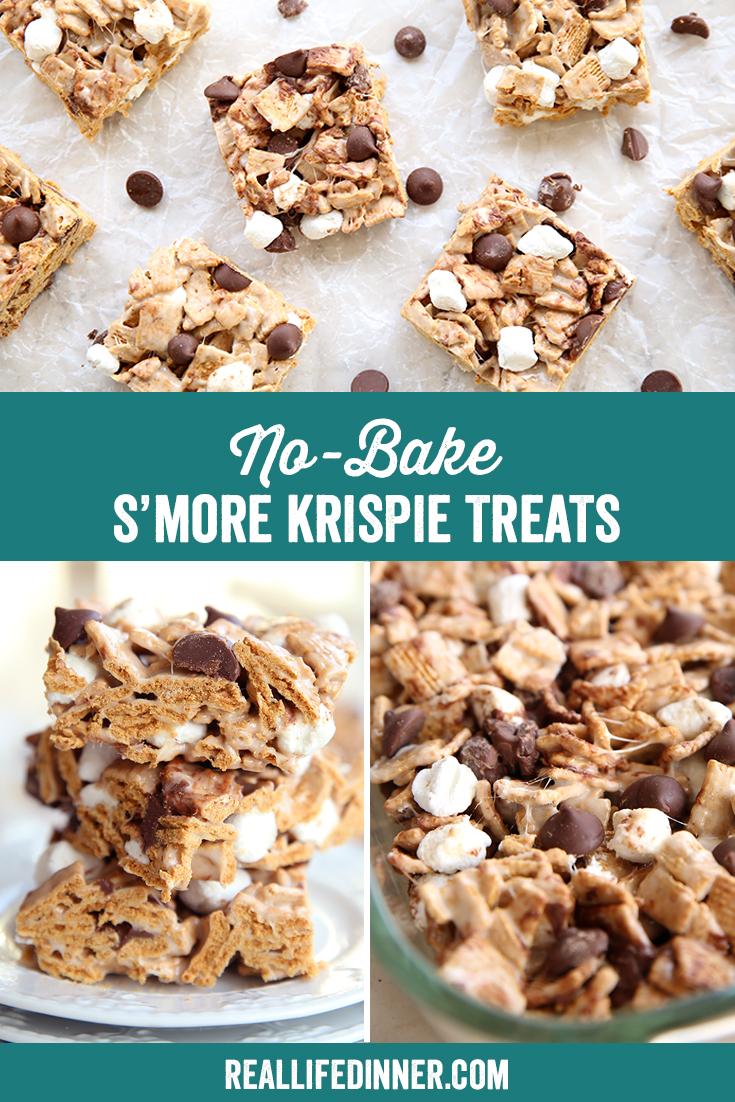 Pinterest Image of Smore Krispie Treats