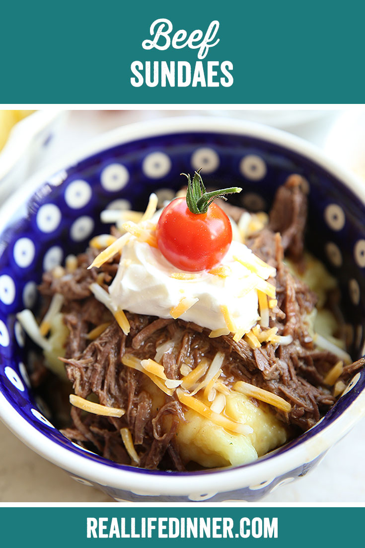 Pinterest picture of Beef Sundaes with the text of the title at the top.