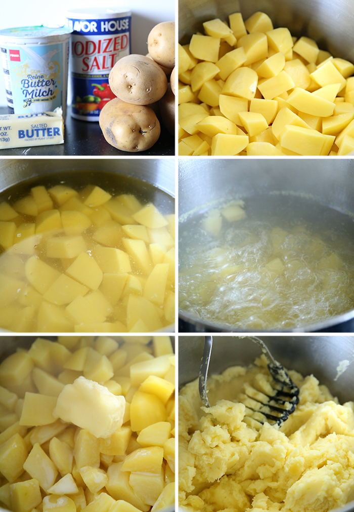 Six-picture photo collage of step-by-step photos for how to make Buttermilk Mashed Potatoes