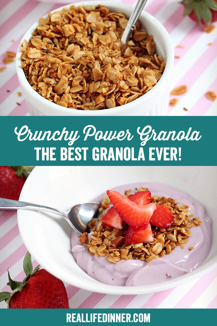 a pinterest collage photo of crunchy power granola...the best granola ever! It has two pictures in it.