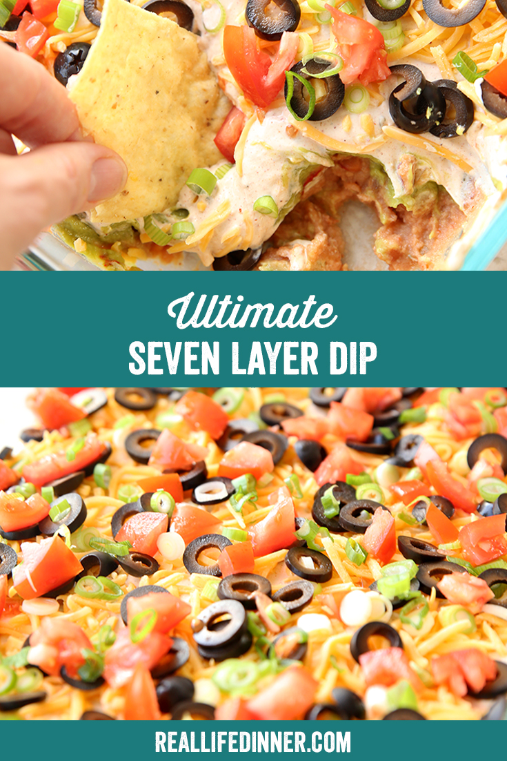 A pinterest collage for Seven Layer Dip