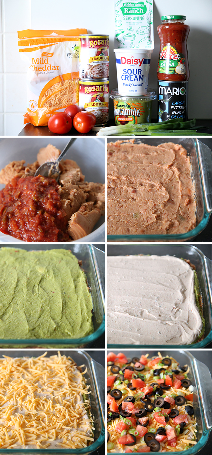 A collage of seven photos showing step by step how to make seven layer dip