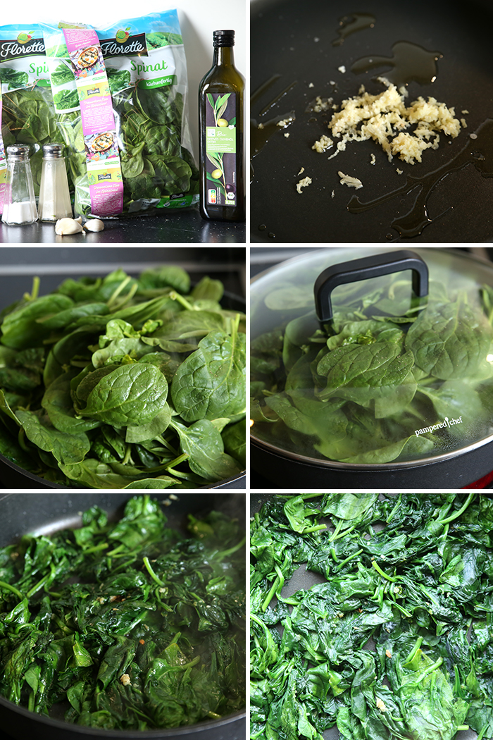 6-photo picture collage of step-by-step pictures on how to make Garlic Sautéed Spinach.