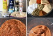 4-picture photo collage of step-by-step photos for making Homemade Blackened Seasoning Mix