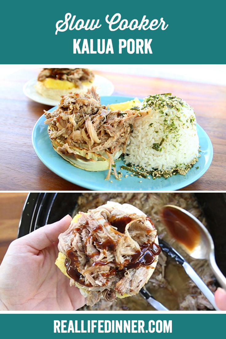 a pinterest collage photo of slow cooker kalua pork. It has two pictures in it.