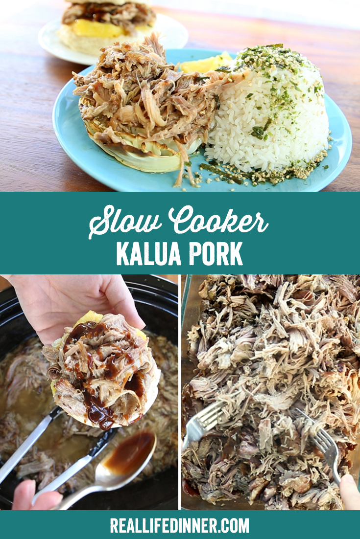 a pinterest collage photo of slow cooker kalua pork. It has three pictures in it.