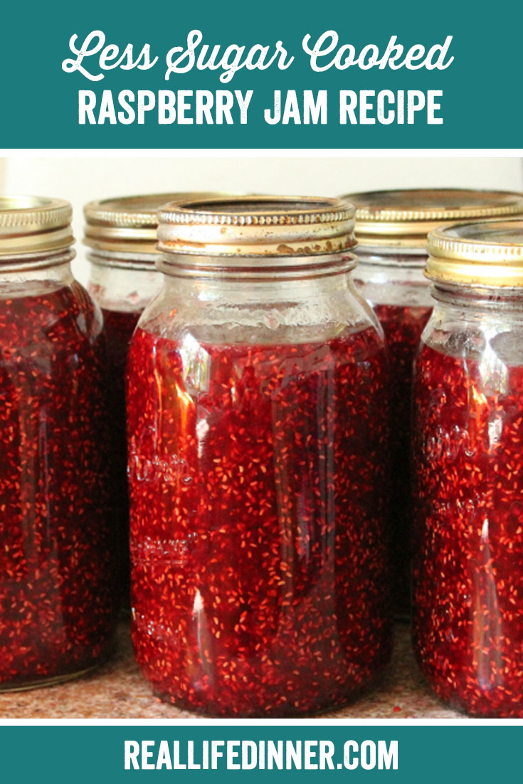 a pinterest collage photo of les-sugar cooked raspberry jam. it has one picture in it.