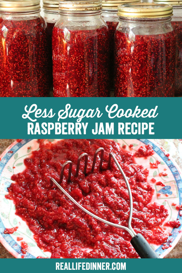 a pinterest collage photo of les-sugar cooked raspberry jam. it has two pictures in it.