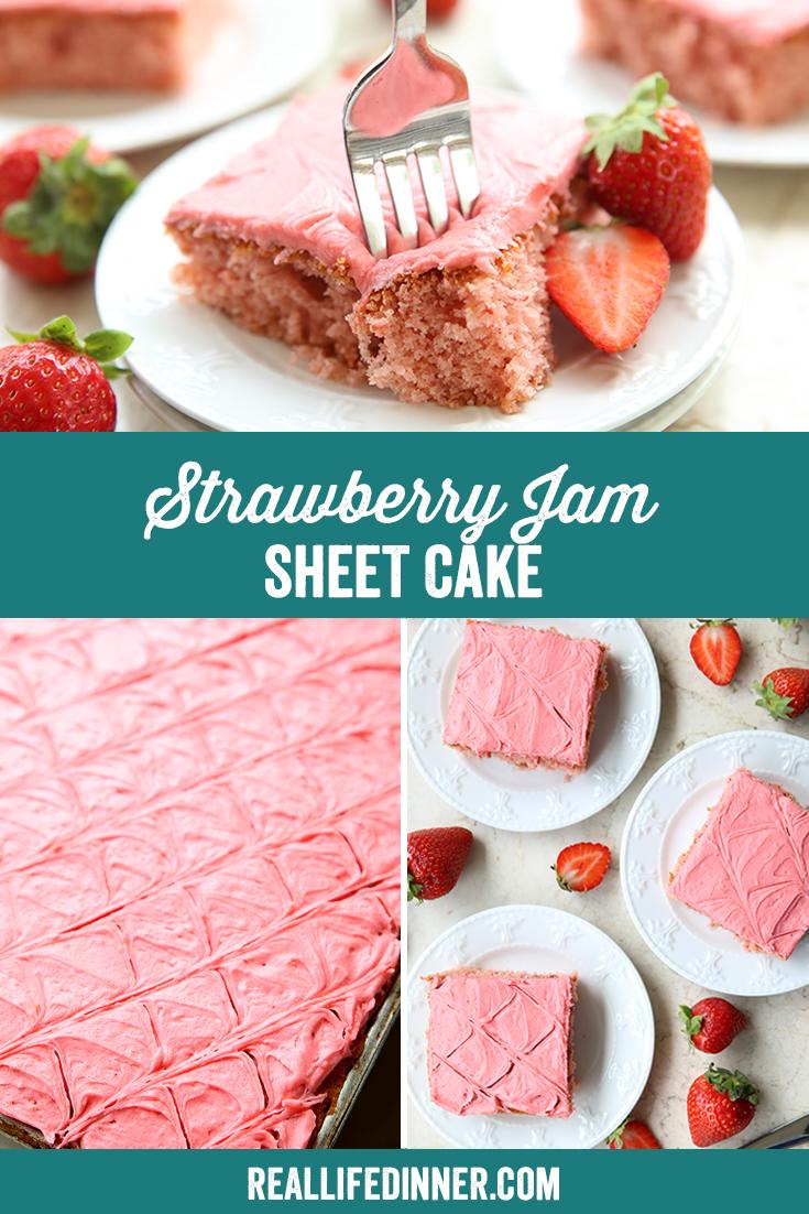 Pinterest image of Strawberry Jam Sheet Cake