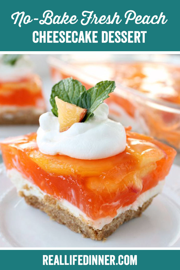 a pinterest collage photo of no-bake fresh peach cheesecake dessert. it has one picture in it.
