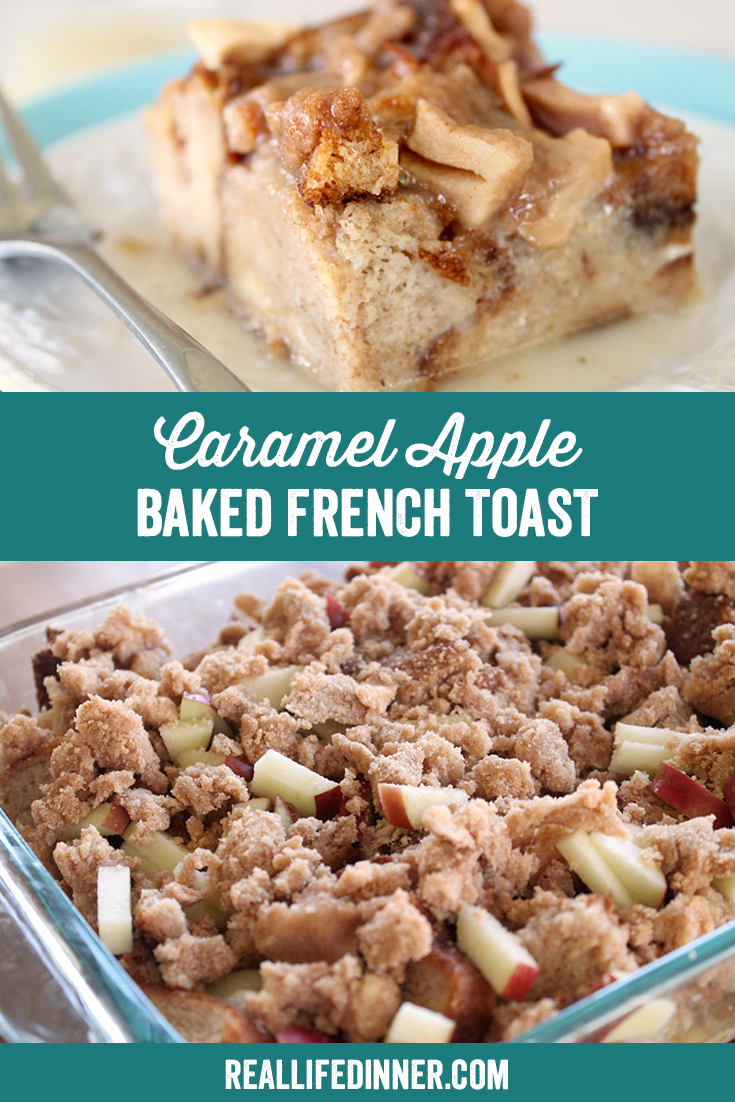 a pinterest collage photo of caramel apple baked french toast. it has two pictures in it.