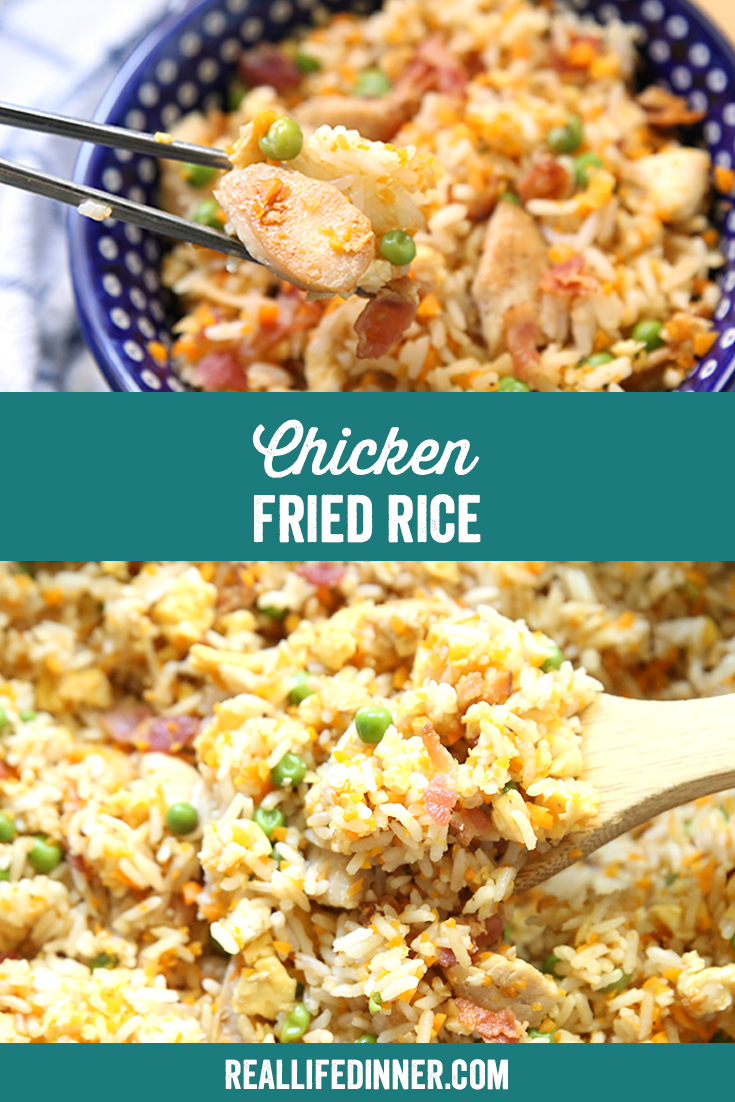 Pinterest image of Chicken Friend Rice
