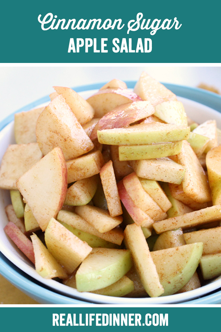 a pinterest collage photo of cinnamon sugar apple salad. it has one picture in it.
