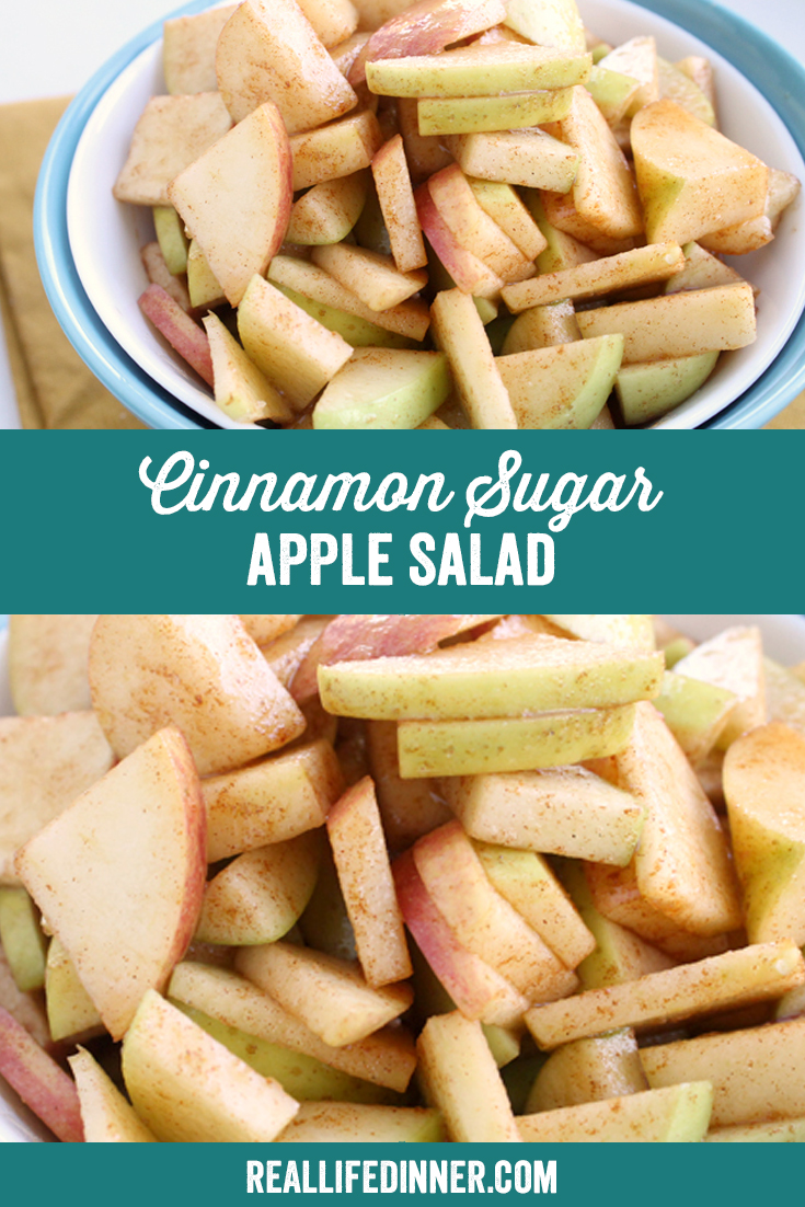 a pinterest collage photo of cinnamon sugar apple salad. it has two pictures in it.